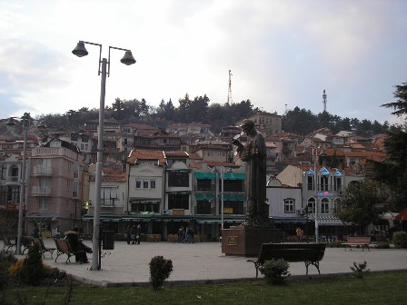 The town of Ohrid, Macedonia, with the statue of St Kliment Ohridski