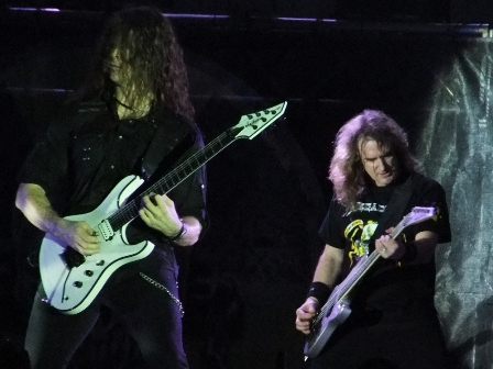 Chris Broderick and Dave Ellefson from Megadeth live at the Polideportivo Envigado