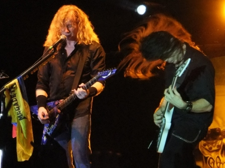 Dave Mustaine and Chris Broderick headbanging