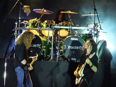 Shawn Drover with Dave Mustaine and Chris Broderick