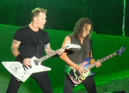 James and Kirk with a Dracula Guitar in Romania - Metallica in Bucharest 2010