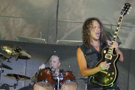 Thomas Bredhal on stage at the Sonisphere Festival with Metallica