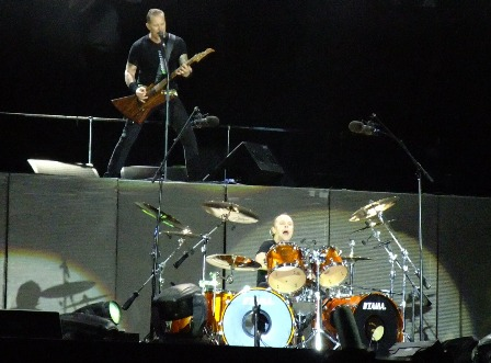 James Hetfield and Lars Ulrich from Metallica playing at Sonisphere Festival, Hockenheim