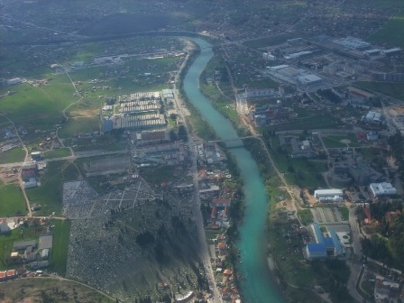 Flying over Podgorica, Montenegro