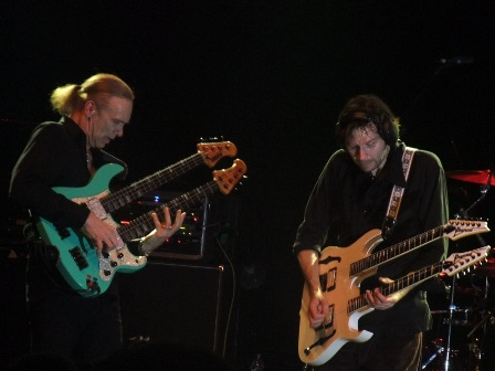 Billy Sheehan on his Double neck bass and Paul Gilbert with his double neck guitar