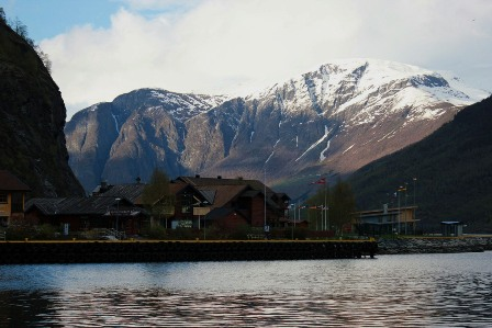 Flåm, the mountains, and the Aurlandsfjord