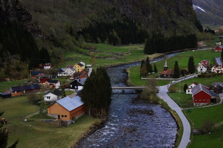 The town of Flåm in Norway