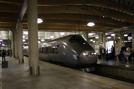 OSL: The Oslo airport train station as the Flytoget arrives