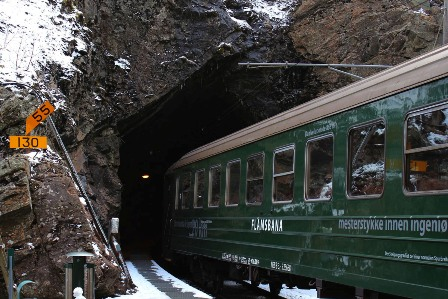 The Flåmsbana outside the tunnel, during the stop at Kjosfossen waterfall