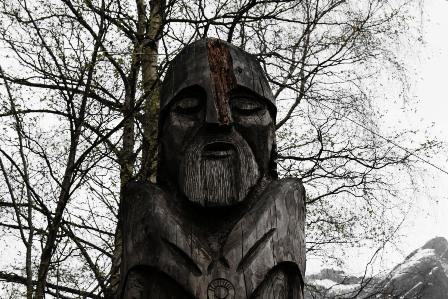 A wooden viking in Gudvangen