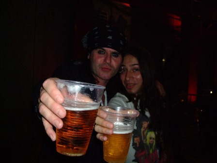 Spike and Metal Traveller having some beer after the Quireboys show