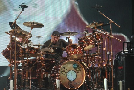 Neil Peart on drums with Rush