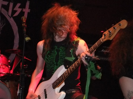 Johnny Exciter on bass - Skull Fist live in concert