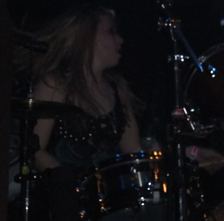 Alison Thunderland on drums with Skull Fist live in Essen