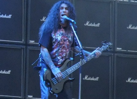 Tom Araya and their Marshall amps wall