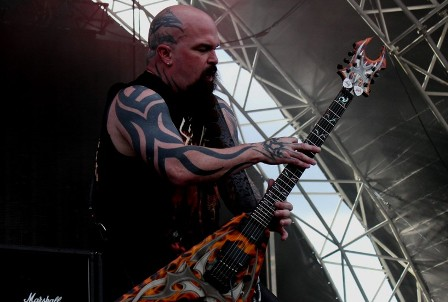 Kerry King on stage at the Sonisphere Festival with Slayer