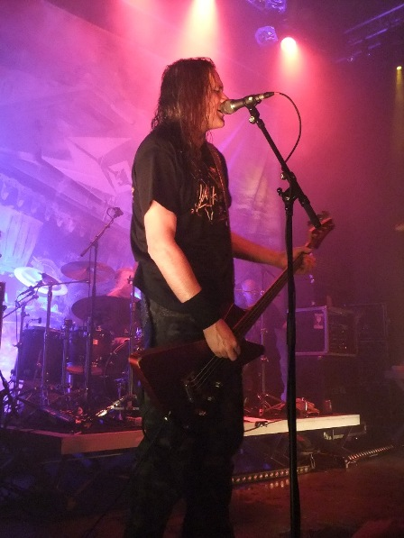 Tom Angelripper playing his good old bass - Sodom live in Eindhoven