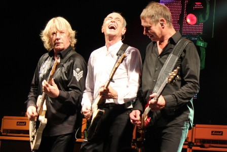 Rick Parfitt, Francis Rossi and Rhino Edwards with Status Quo
