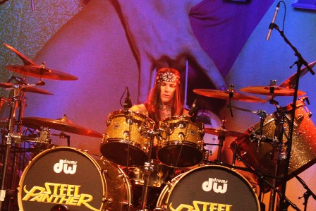 Stix Zadinia on drums with Steel Panther live in Paris, France