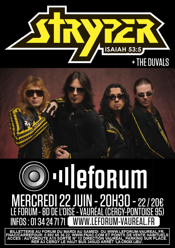 Poster from Stryper at the Forum in Vauréal, near Paris