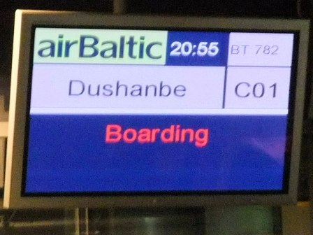 Boarding the Air Baltic plane from Riga to Dushanbe