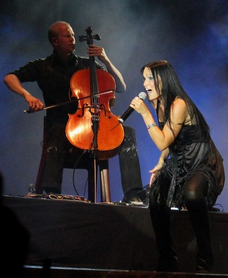 Thomas Bredhal on stage at the Sonisphere Festival with Tarja
