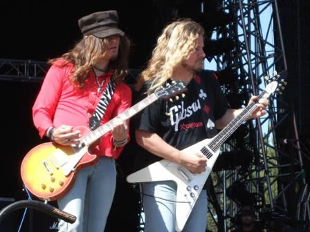 Dave Rude and Franck Hannon from Tesla live at the Sweden Rock Festival - June 2008