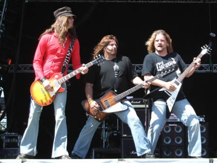 Dave, Brian and Frank from Tesla live at Sweden Rock Festival, June 2008