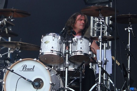 Kosta Zafiriou on drums with Unisonic
