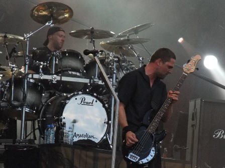 Jon Larsen and Anders Kjølholm from Volbeat in Wacken