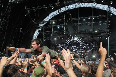 Crowdsurfing during Volbeat at the Sonisphere Festival France