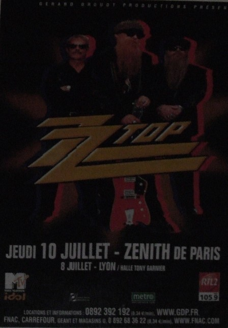 Poster for the ZZ Top Concert on the Paris Subway